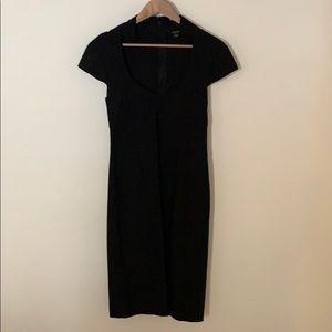 Back zipper stretchy black cocktail dress